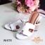 รองเท้าส้นสูง ทรงสวม ส้นปั้มลายไม้ หนังนิ่ม (สีขาว ) thumbnail 4