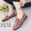 รองเท้าคัทชูส้นแบน หนังสักราจนิ่ม ด้านหน้าทรงตัวยู สไตล์วินเทจ (สีชมพู ) thumbnail 4