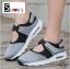 รองเท้าผ้าใบเสริมส้นสีเทา ผ้ายืดและผ้าตาข่าย สายรัดเมจิกเทป (สีเทา ) thumbnail 4