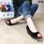 รองเท้าส้นเตารีดส้นโอ่ง เปิดหัวเล็กน้อย (สีดำ ) thumbnail 2