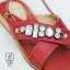 รองเท้าแตะรัดส้นสีแดง สายคาดไขว้ ประดับเพชร (สีแดง ) thumbnail 5
