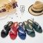 รองเท้าแตะรัดส้นสีแดง สายคาดไขว้ ประดับเพชร (สีแดง ) thumbnail 6