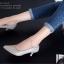 รองเท้าคัทชู ส้นสูง หัวแหลม ซับในกำมะหยี่นิ่ม (สีเทา ) thumbnail 5