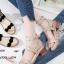 รองเท้าส้นเตี้ยรัดข้อสีแอปริคอท ขอบหยัก สไตล์สาวเกาหลี (สีแอปริคอท ) thumbnail 1