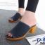 รองเท้าส้นตันเปิดส้นสีน้ำเงิน ผ้ายีนส์แต่งชายลุ่ย (สีน้ำเงิน )