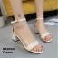 รองเท้าส้นตันรัดส้นสีครีม ผ้าสักหลาด สไตล์เรียบหรู (สีครีม )