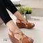 รองเท้าส้นเตารีด รัดส้น สายไขว้ กระชับเท้า (สีน้ำตาล )