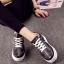 รองเท้าผ้าใบ แบบเชือก ด้านในบุฟองน้ำ งานเริ่ด (สีดำ )