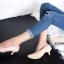 รองเท้าคัทชู ส้นสูง หัวแหลม ซับในกำมะหยี่นิ่ม (สีชมพู ) thumbnail 7