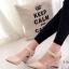 รองเท้าส้นเตารีดรัดข้อ หัวแหลม หนังนิ่ม สายรัดเมจิกเทป (สีครีม )