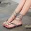 รองเท้าแตะพันข้อสีเงิน ลายงูประดับเพชร สไตล์ gladiater (ทอง ) thumbnail 1