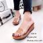 รองเท้าแตะเปิดส้น สไตล์ลำลอง ส้นเตารีด แต่งโลโกCC (สีน้ำตาล ) thumbnail 2