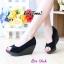 รองเท้าส้นเตารีดส้นโอ่ง เปิดหัวเล็กน้อย (สีดำ ) thumbnail 5