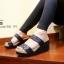 รองเท้าส้นเตารีดเปิดส้นสีดำ สไตล์ baobao พื้นสปองค์ (สีดำ )