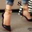 รองเท้าส้นสูง หัวแหลม สายรัดข้อสีทอง (สีดำ ) thumbnail 4