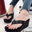 รองเท้าส้นเตารีด เปิดส้น หูหนีบ สไตล์Issey-Miyake (สีดำ )