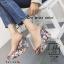 รองเท้าส้นเตารีดลายดอกไม้สีเทา สไตล์วินเทจ สายคาดพลาสติกใส (สีเทา ) thumbnail 5