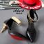 รองเท้าส้นสูง หัวแหลม สายรัดข้อสีทอง (สีดำ ) thumbnail 3