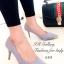 รองเท้าคัทชู ส้นสูง หัวแหลมแต่สีทอง ผ้าซาติน (สีเทา )