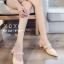รองเท้าส้นตันหัวแหลมสีครีม เปิดส้น แบบสวม แต่งไข่มุก (สีครีม ) thumbnail 3