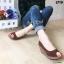 รองเท้าส้นเตารีดส้นโอ่ง เปิดหัวเล็กน้อย (สีน้ำตาล ) thumbnail 2