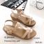 รองเท้าส้นเตารีดรัดส้นสีครีม ดีไซน์สวมคาดหน้า สายรัดข้อตะขอเกี่ยว (สีครีม ) thumbnail 5