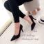 รองเท้าคัทชู ส้นสูง หัวแหลม หนังกลับ (สีดำ ) thumbnail 3