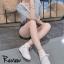 รองเท้าผ้าใบผู้หญิง หนังแกะ ด้านในบุผ้า (สีน้ำตาล )