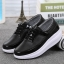 รองเท้าผ้าใบเสริมส้นสีดำ แต่งขอบหนังเงา ดีไซน์สวย (สีดำ ) thumbnail 3