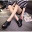 รองเท้าส้นเตารีดรัดส้นสีดำ หนังนิ่ม สายรัดแบบเมจิคเทป (สีดำ ) thumbnail 3
