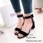 รองเท้าส้นตันรัดข้อสีดำ สายรัดข้อตะขอเกี่ยวปรับได้ (สีดำ ) thumbnail 4