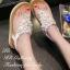 รองเท้าแตะ ทรงคีบ รัดส้น แต่งคลิสตัลฝังเพชร (สีขาว )