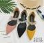 รองเท้าส้นเตี้ยหัวแหลมสีชมพู น้ำหนักเบา ประดับเพชร (สีชมพู ) thumbnail 5