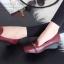 รองเท้าคัทชูส้นเตารีด หัวตัด หนังนิ่ม เรียบหรูดูดี (สีแดงเลือดหมู ) thumbnail 4
