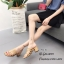 รองเท้าส้นตันสีแทน แบบสวม ดีไซน์งานเส้น (สีแทน ) thumbnail 3