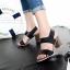 รองเท้าส้นสูง รัดส้น เปิดหน้า สายรัดเมจิกเทป (สีดำ ) thumbnail 3