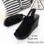 รองเท้าส้นเตารีดรัดส้นสีดำ แบบสวม เปิดหน้าเท้า (สีดำ ) thumbnail 3
