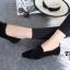 รองเท้าคัทชูส้นเตี้ย แบบผูกเชือก สักหราดนิ่ม ดูดีมีสไตล์ (สีดำ ) thumbnail 3