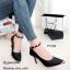 รองเท้าคัทชูส้นสูง รัดข้อเท้า หุ้มหัวสีทอง หรูหรา (สีดำ ) thumbnail 3
