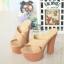 รองเท้าส้นสูงเปิดส้นสีแทน Muless Heels Shoes (สีแทน ) thumbnail 3