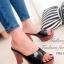 รองเท้าส้นสูงเปิดส้น หนังเงานิ่ม สวยคลาสสิค (สีดำ )