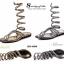 รองเท้าแตะพันข้อสีเงิน ลายงูประดับเพชร สไตล์ gladiater (ทอง ) thumbnail 8