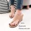 รองเท้าส้นเตารีดสีแทน แบบคีบ สไตล์ลำลอง (สีแทน )