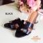 รองเท้าส้นสูง ทรงสวม ส้นปั้มลายไม้ หนังนิ่ม (สีดำ ) thumbnail 3