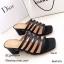 รองเท้าส้นตันสีดำ แบบสวม ดีไซน์งานเส้น (สีดำ ) thumbnail 2