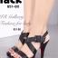 รองเท้าส้นสูง รัดส้น สายคาดไขว้ (สีดำ )