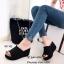 รองเท้าส้นเตารีดเปิดส้นสีดำ ผ้าแคนวาสนิ่ม แต่งขอบรุ่ย (สีดำ ) thumbnail 2