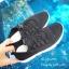 รองเท้าผ้าใบแฟชั่นสีดำ วัสดุผ้าทอนุ่มๆ (สีดำ ) thumbnail 4