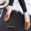 รองเท้าคัทชูส้นเตี้ย แบบผูกเชือก สักหราดนิ่ม ดูดีมีสไตล์ (สีน้ำตาล ) thumbnail 5