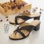 รองเท้าส้นตันสีดำ แบบคีบ เก็บเท้า match ง่ายกับทุกชุด (สีดำ ) thumbnail 3